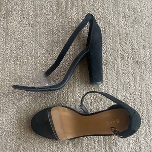 Black block heels with clear strap - size 8